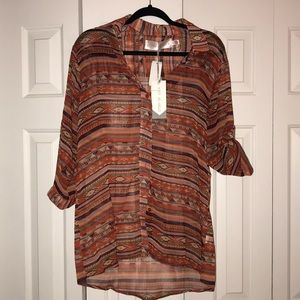 Aztec Sheer Blouse: Story of Lola, One size.